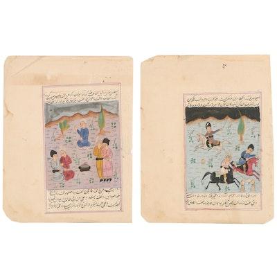 Persian Illuminated Manuscript Pages Including Horseback Chovgan Scene