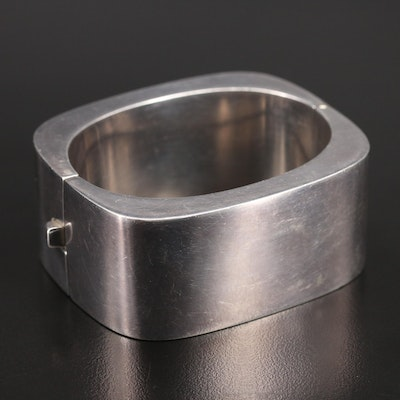 Sterling Square Hinged Bangle