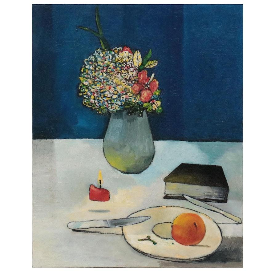 """Sebastian Meier Oil Painting """"Vela, Book y Fruta,"""" 2021"""