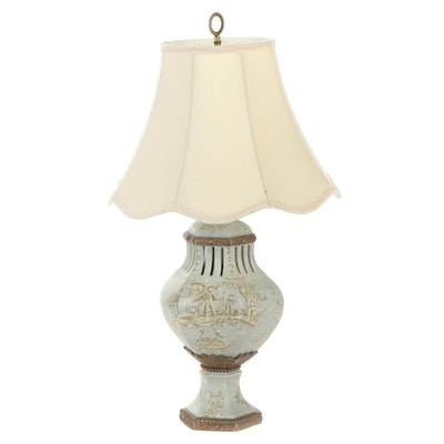 Chinese Pierced Ceramic Table Lamp