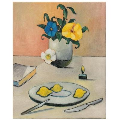"""Sebastian Meier Oil Painting """"Flowers, Limones and Cuchillos,"""" 2021"""