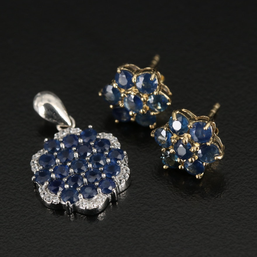 Sterling Pendant and Earrings Including Sapphire and Zircon