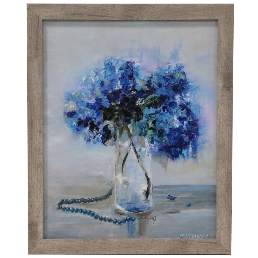 "Larissa Sievers Still Life Oil Painting ""Blue Bouquet,"" 2021"