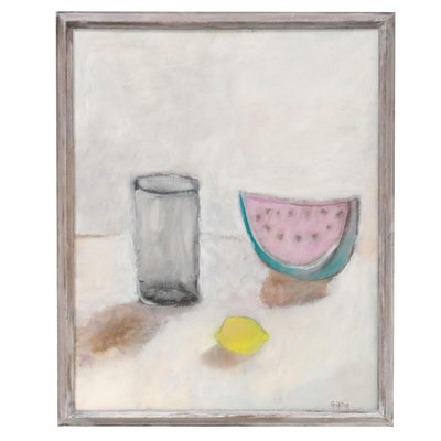 "Georgann Gibson Still Life Oil and Acrylic Painting ""Summer Picnic"""