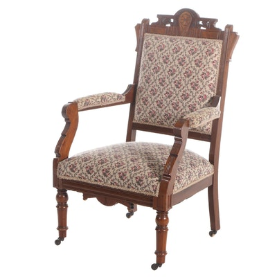 Victorian Walnut Upholstered Armchair, Late 19th Century
