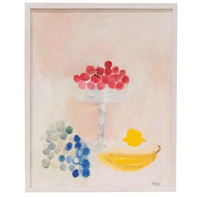 "Georgann Gibson Still Life Acrylic Painting ""Summer Cherries,"" 2021"
