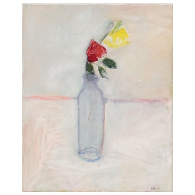 "Georgann Gibson Still Life Oil Painting ""Two Roses,"" 2021"