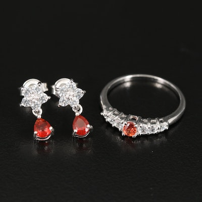 Sterling Ring and Earrings Including Opal, Zircon and Sapphire