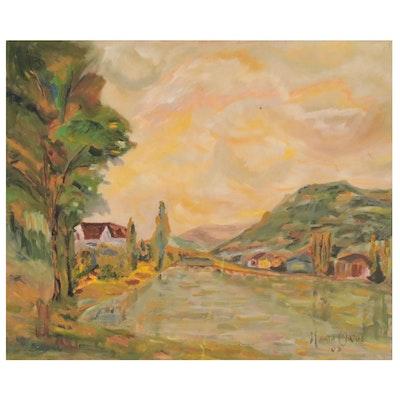 Sunset Landscape Oil Painting, 2003