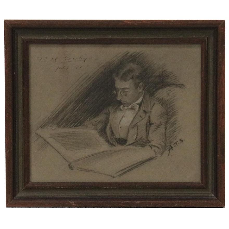 "Charcoal and Chalk Portrait ""P.H. Cowley,"" 1897"