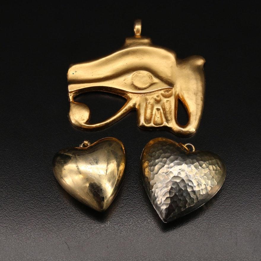Kenneth Jay Lane Eye or Horus Pendant with Puffed Heart Pendants