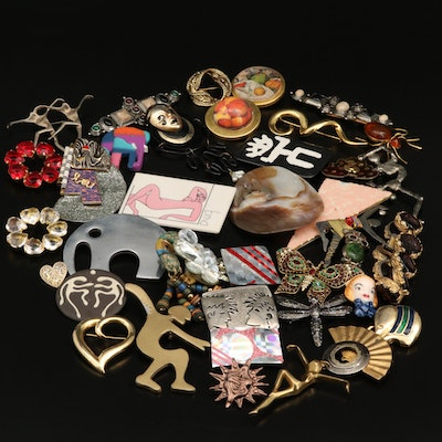 Brooches, Earrings and Other Jewelry Including Assorted Gemstones