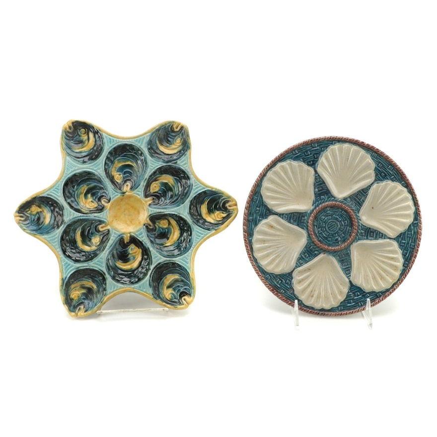 French Majolica Barbotine Palissy Style Star Shaped and Another Oyster Plates