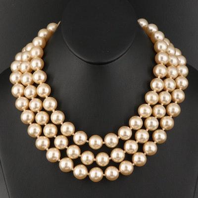 Imitation Pearl Triple Strand Necklace