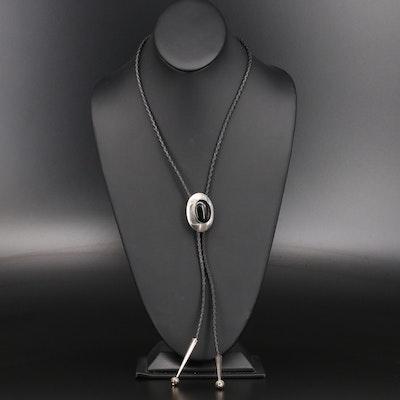 Sterling Silver Black Onyx Bolo Tie