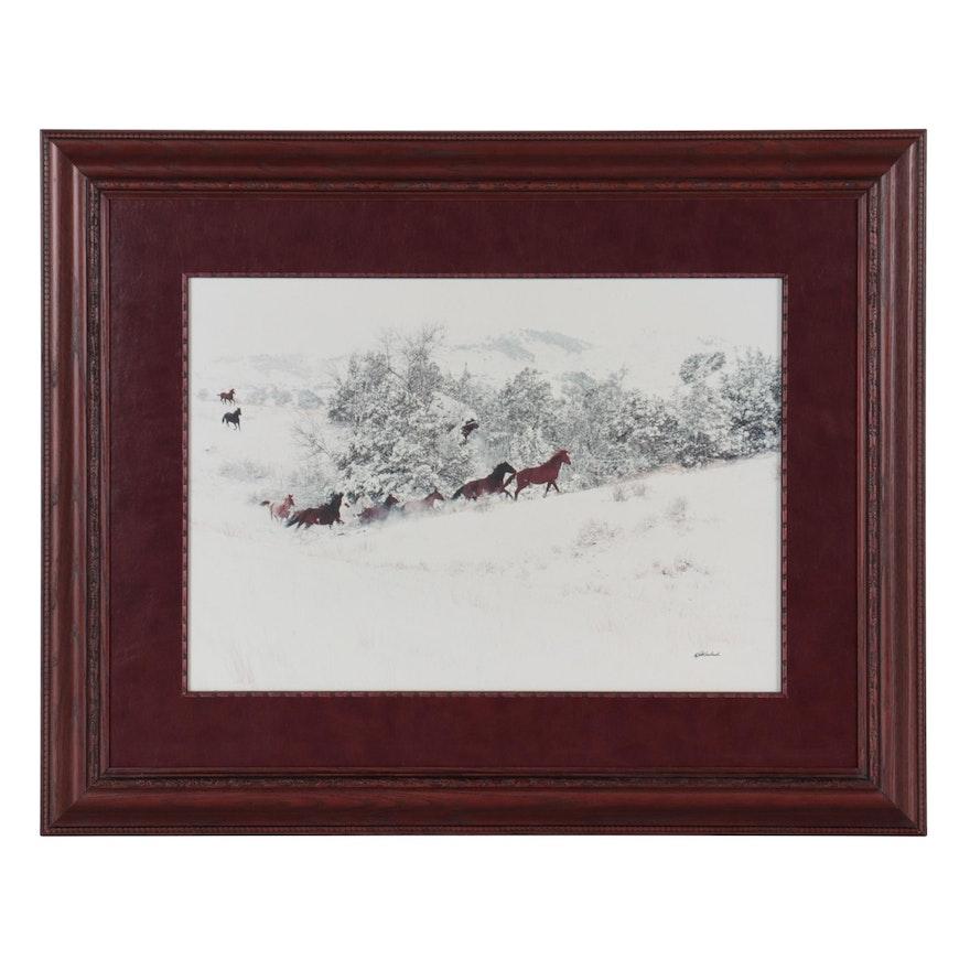 Pat Gerlach Winter Landscape Chromogenic Print of Horses