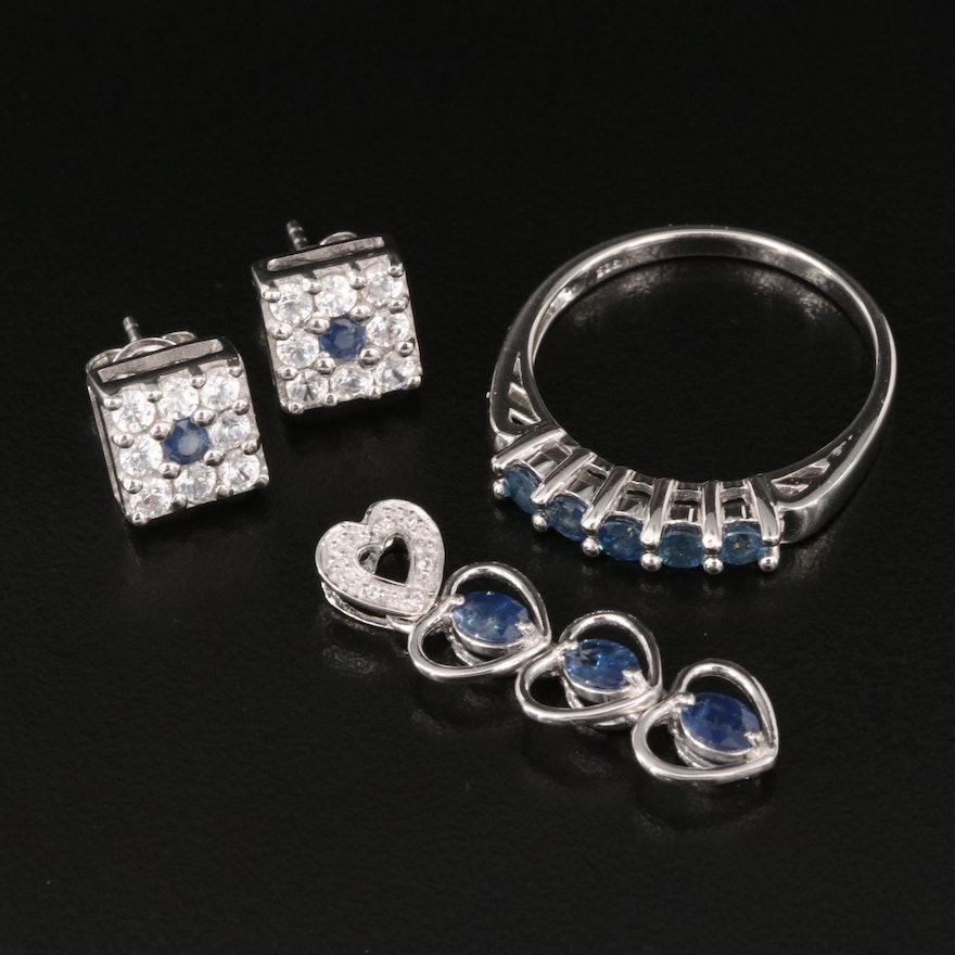 Sterling Silver Sapphire and White Zircon Jewelry Featuring Heart Pendant