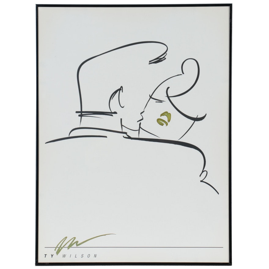"""Offset Lithograph After Ty Wilson """"Embrace,"""" Circa 1990"""