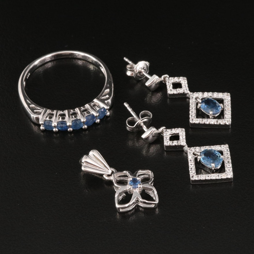 Sterling Silver Ring, Pendant and Earrings Featuring Sapphire and Zircon