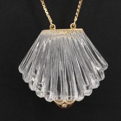 14K Gold Rock Quartz Crystal and Diamond Locket Pendant Necklace