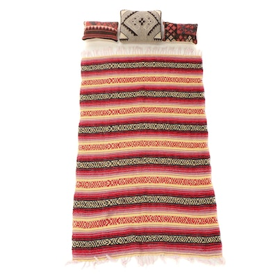 Handwoven Twill Throw Blanket and Kilim Face Accent Pillows