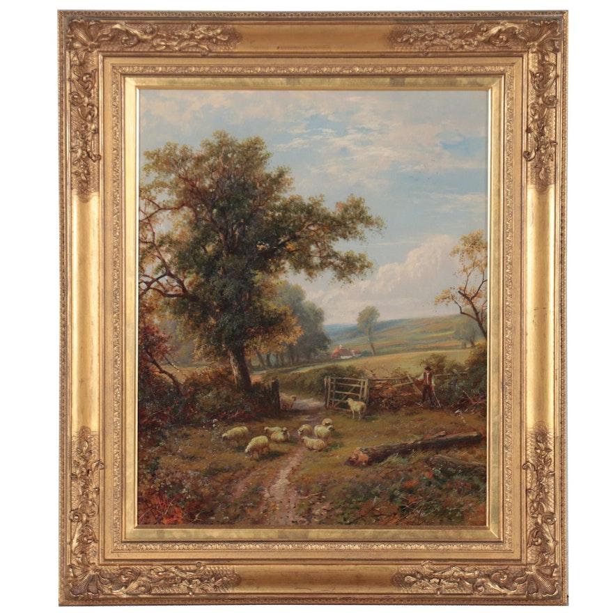 British School Pastoral Landscape Oil Painting, 1899