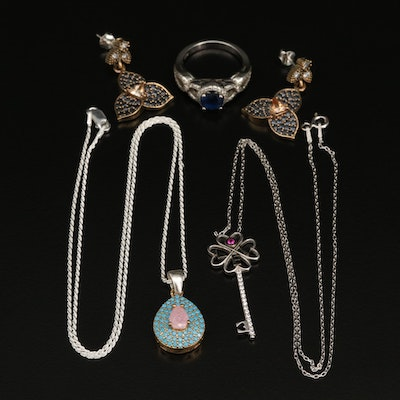 Sterling Silver Jewelry Featuring Faux Turquoise, Cubic Zirconia and Ruby