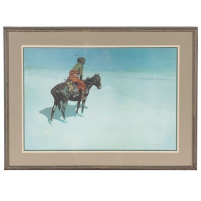 """Collotype After Frederic Remington """"The Scout: Friends or Foes?"""""""