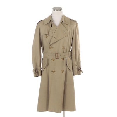 """Men's Burberrys Khaki Double-Breasted Trench Coat with """"Nova Check"""" Lining"""