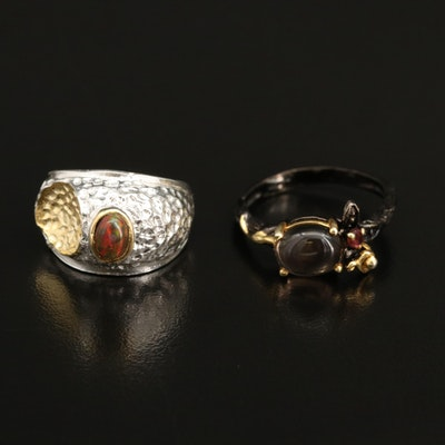 Sterling Silver Smoky Quartz, Garnet and Opal Rings
