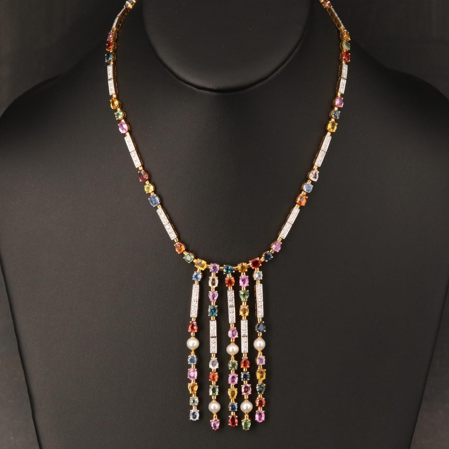 18K 1.01 CTW Diamond, Sapphire and Pearl Waterfall Necklace