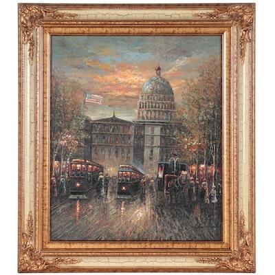 Washington, D.C. Street Scene Oil Painting, Circa 2000