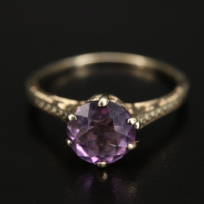 Vintage 14K Amethyst Ring with Scrollwork Detail