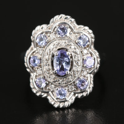Sterling Diamond and Tanzanite Ring with Scallop Detail