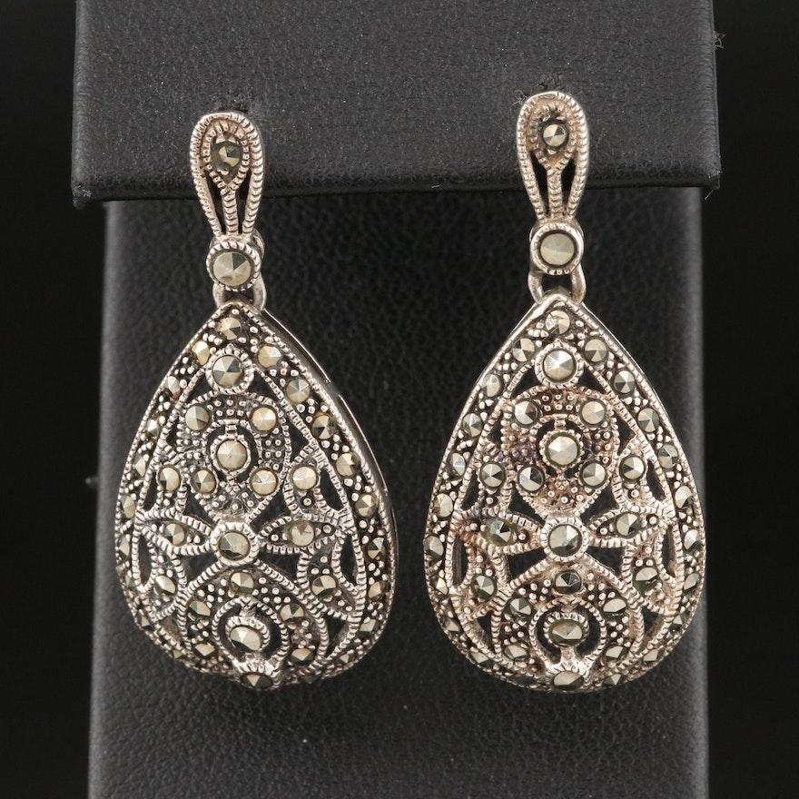 Sterling Silver Marcasite Openwork Drop Earrings