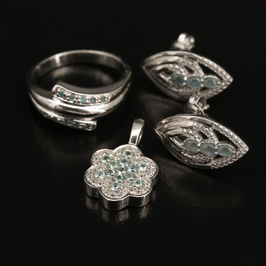 Sterling Silver Alexandrite and Zircon Ring, Earrings and Pendant
