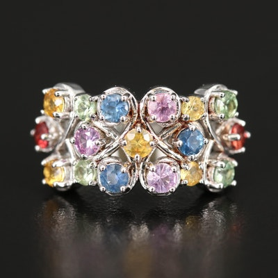Sterling Sapphire Multi-Row Ring