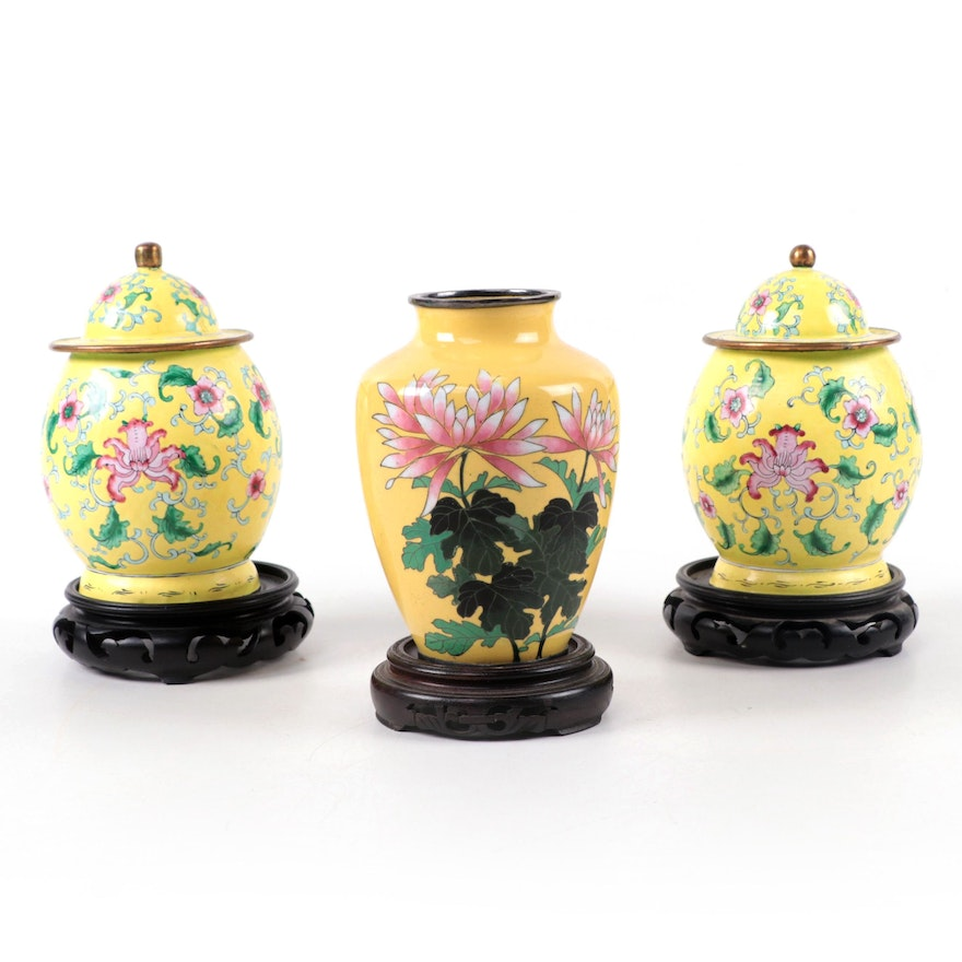 Chinese Enamel and Ceramic Vases with Carved Wood Stands, Late 20th Century