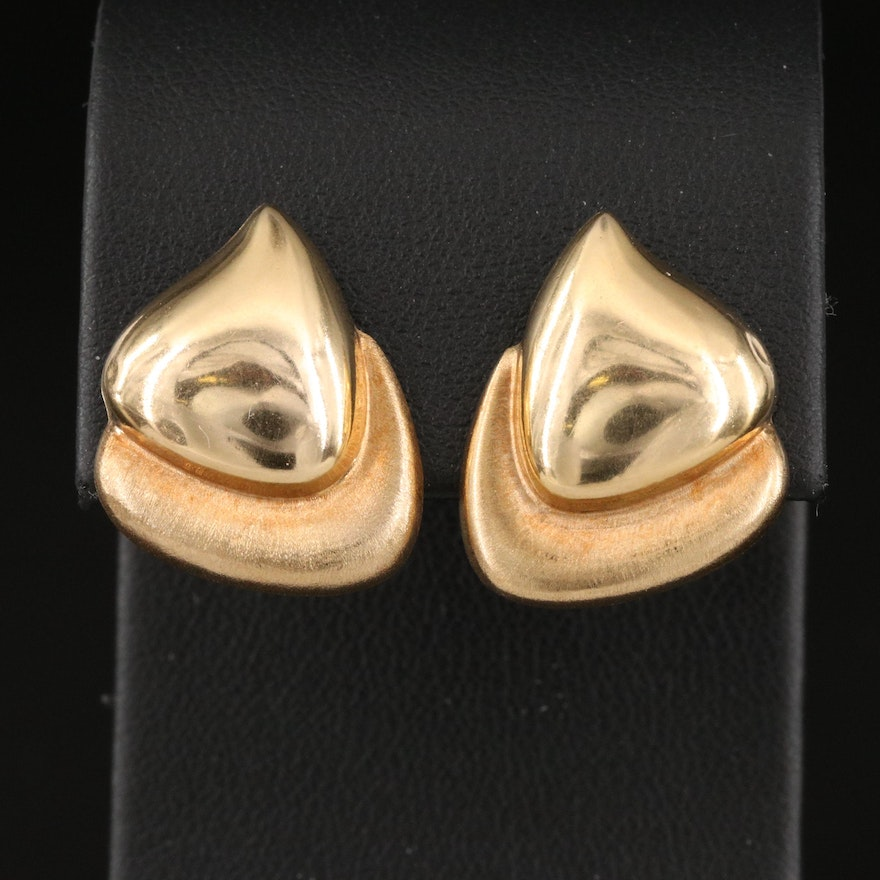 Italian 14K Freeform Earrings with Florentine Accents