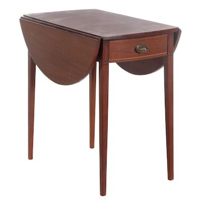 Mersman Furniture Mahogany and Line Inlaid Pembroke Side Table