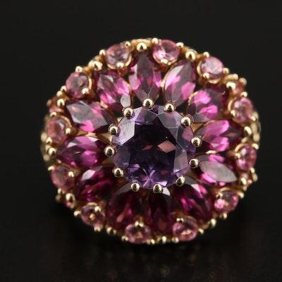 14K Amethyst, Garnet and Tourmaline Ring