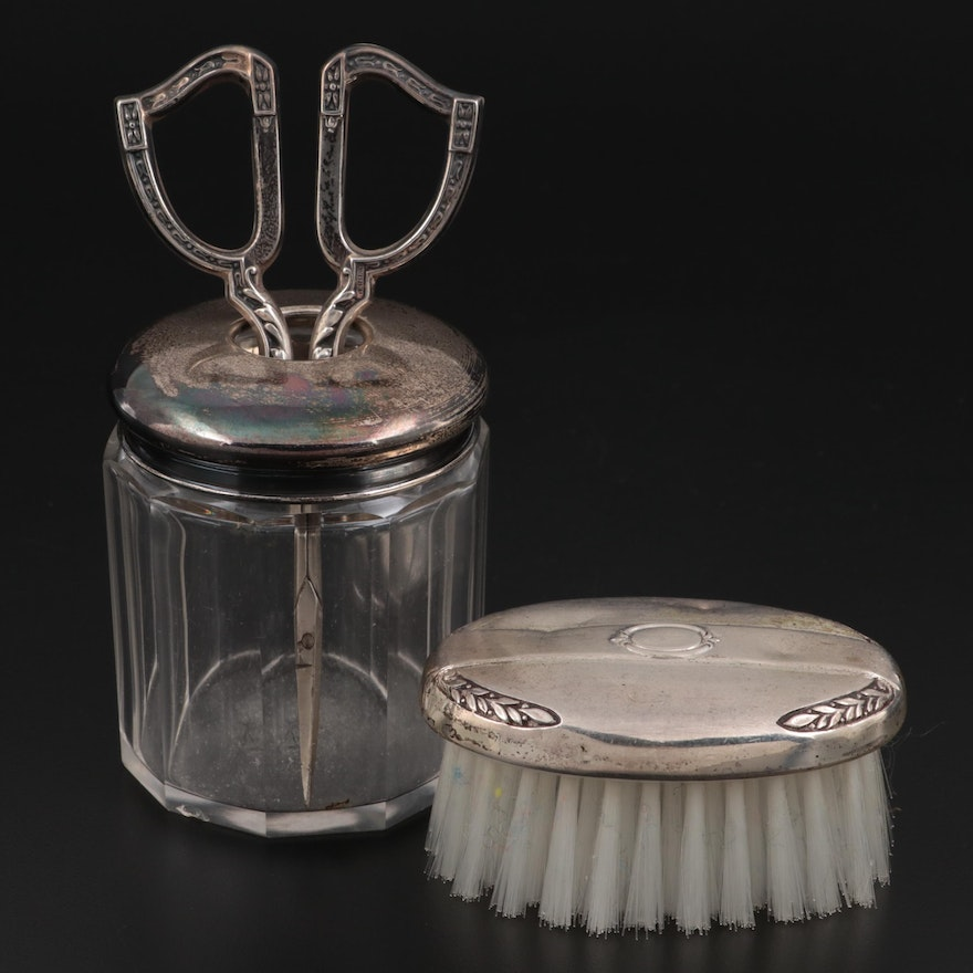 Charles May English Sterling Silver Lidded Canister and Other Vanity Flags