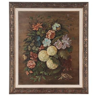 Latin American Floral Still Life Oil Painting, Circa 1970