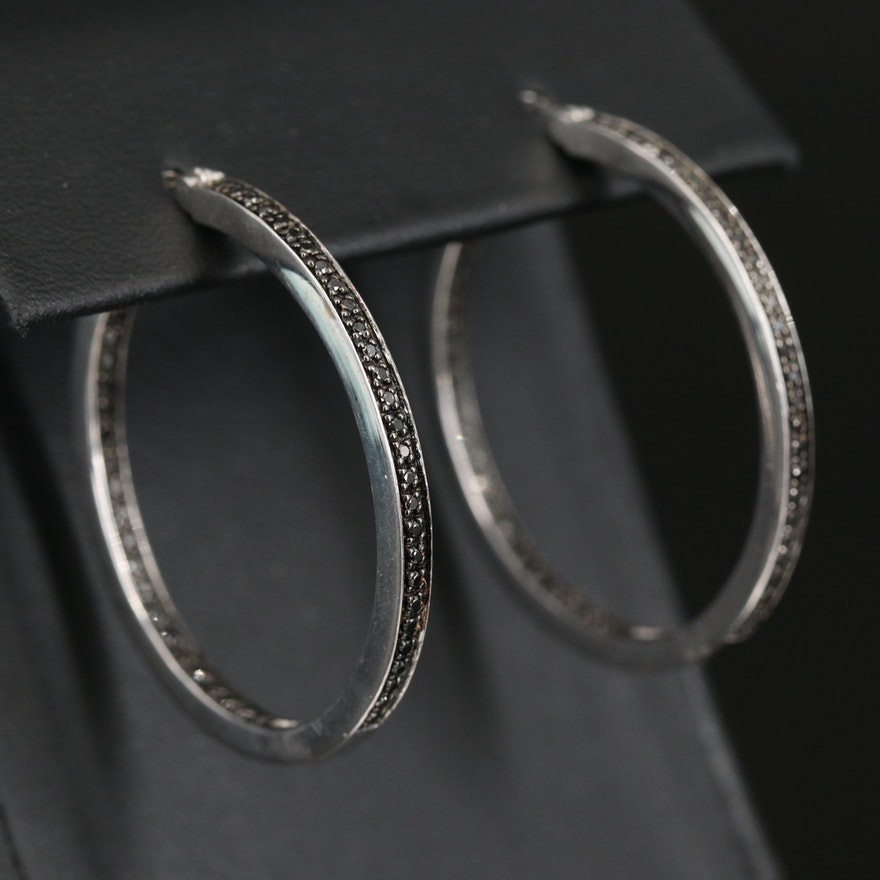 Sterling Inside-Out Diamond Hoop Earrings