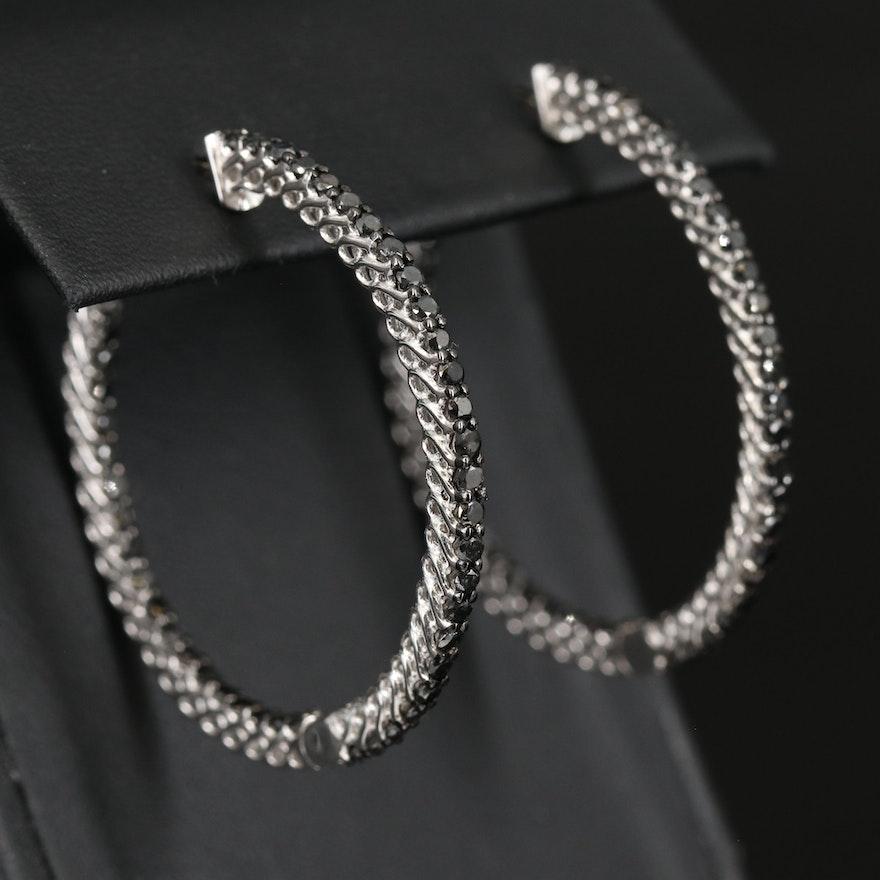 Sterling 2.75 CTW Diamond Inside-Out Hoop Earrings