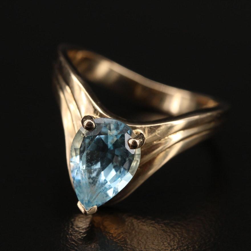 Aigrette Style 14K Topaz Ring