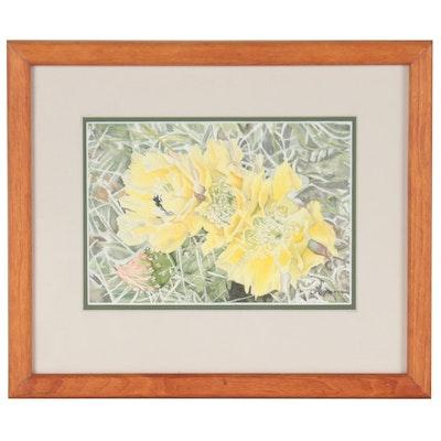 Linda Grams-Henderson Watercolor Painting of Cactus Flowers