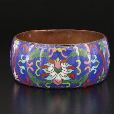 Vintage Wide Floral Enamel Cuff
