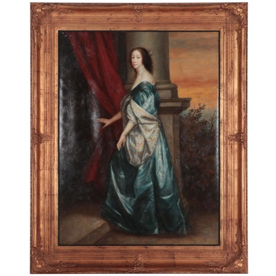 """Portrait Oil Painting After Anthony van Dyck """"Lucy Percy, Countess of Carlisle"""""""