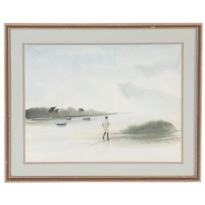 """French Watercolor Painting """"Promenade sur la Plage à Marée Basse,"""" 1984"""